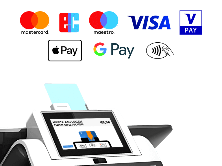 Kartenzahlung MasterCard Visa Maestro V-Pay Apple Pay Google Pay NFC integriert